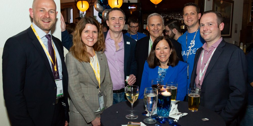 From left, Schindler RDO Strategist Eric Muff, Schindler RDO Program Director Olga Soboleva, Qlik CEO Mike Capone, Bardess President Joe DeSiena, Bardess CEO, Founder and Owner Barbara Pound, Bardess Senior Consultant Bob Connelly and Qlik Account Manager Kevin Krecicki at the Bardess VIP Party during Qlik Qonnections.
